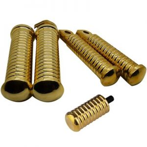 Brass Ribbed Foot Pegs Pair suit Harley, Customs & Bobber